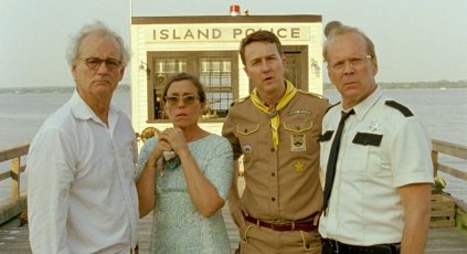 (l to r.) Bill Murray as Mr. Bishop, Frances McDormand as Mrs. Bishop, Edward Norton as Scout Master Ward, and Bruce Willis as Captain Sharp in Wes Anderson's MOONRISE KINGDOM, a Focus Features release. Credit: Focus Features